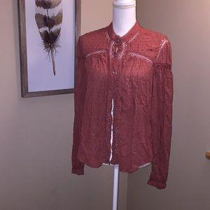 Free People 100% Rayon Shirt Lace